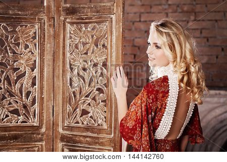 Perfect Woman Flirting on Vintage Interior Background