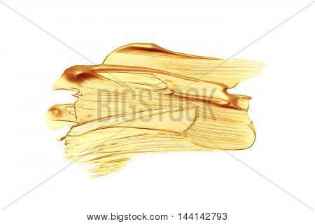 Beautiful textured golden strokes isolated on white background.