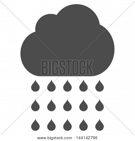 Rain Cloud icon. Vector style is flat iconic symbol, gray color, white background.
