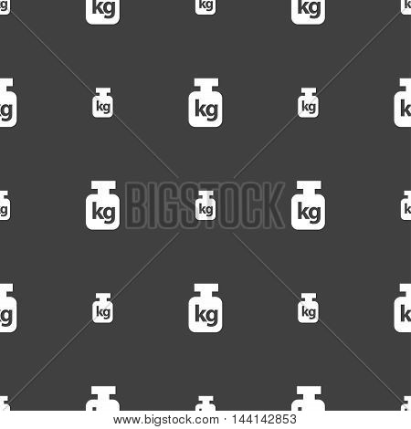 Weight Sign. Seamless Pattern On A Gray Background. Vector