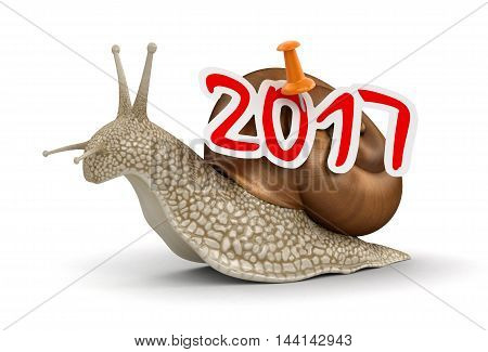 3D Illustration. Snail 2017. Image with clipping path