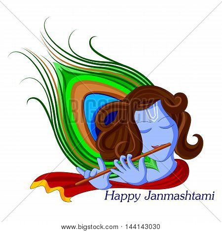 vector illustration of Krishna with flute on Happy Janmashtami background