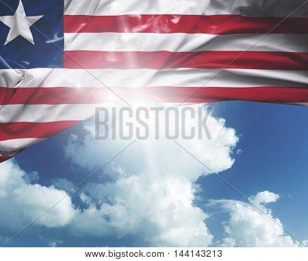 Liberia flag on a beautiful day