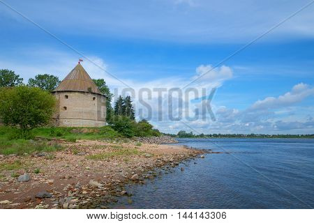 View of the Kingdom tower on the banks of the Neva, Sunny August day. The Oreshek Fortress Russia