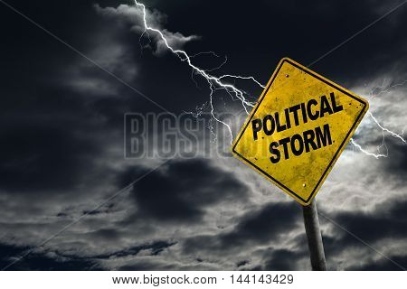 3D rendering of Political Storm sign against a stormy background with lightning and copy space. Dirty and angled sign adds to the drama. Conceptual of dirty politics party politics election year campaigns etc.