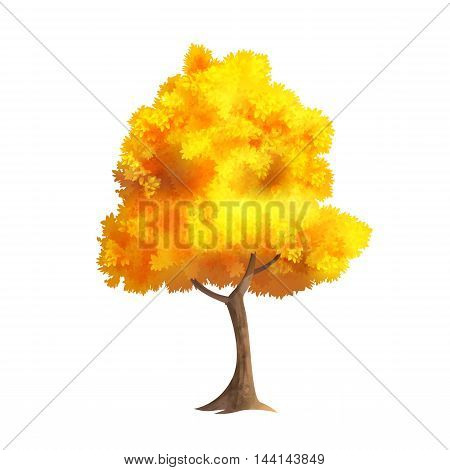 Color Vector Photo Realistic Illustration Of Big Gold Autumn Tree Isolated On White