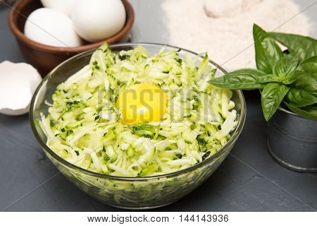 Ingredients For Zucchini Pancakes - Zucchini, Eggs And Flour
