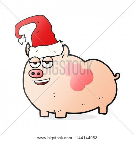 freehand drawn cartoon christmas pig