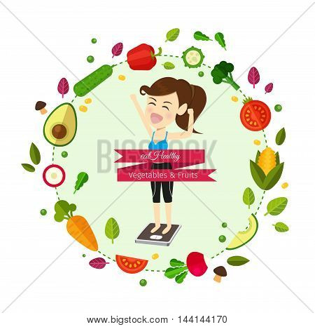 Food for your healthy and body.woman is weight lost .illustration cartoon concept.