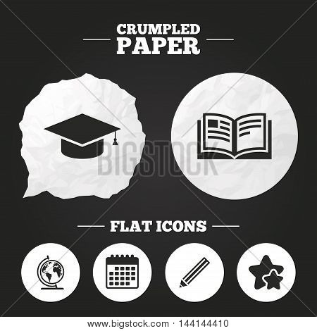 Crumpled paper speech bubble. Pencil and open book icons. Graduation cap and geography globe symbols. Education learn signs. Paper button. Vector