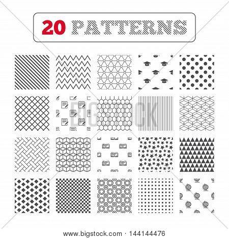 Ornament patterns, diagonal stripes and stars. Pencil with document and open book icons. Graduation cap and geography globe symbols. Learn signs. Geometric textures. Vector