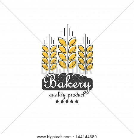 Ripe ears of cereals and bakery vector logo element, concept for organic products line outline style logotype, harvest, linear grain, healthy food symbol isolated on white background