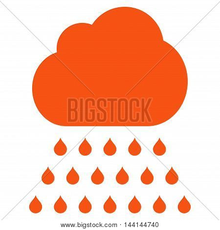 Rain Cloud icon. Vector style is flat iconic symbol, orange color, white background.