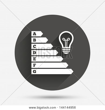 Energy efficiency icon. Electricity consumption symbol. Idea lamp sign. Circle flat button with shadow. Vector