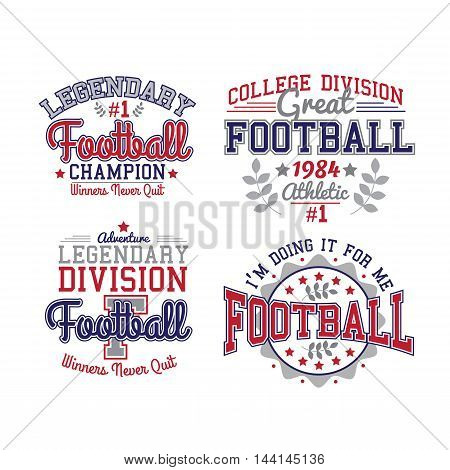 American Football Badges Set. Vector Collection Of Templates And Samples