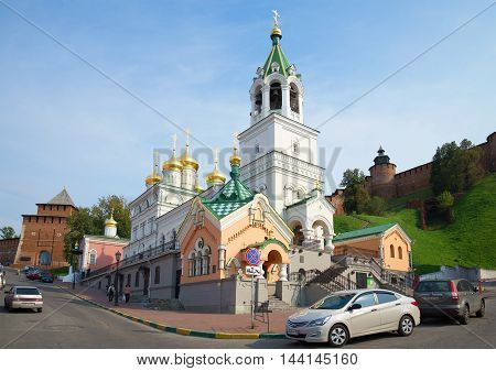 NIZHNY NOVGOROD, RUSSIA - AUGUST 27, 2015: Church of the Nativity of St. John the Baptist sun day in August. Religious landmark  of the city Nizhny Novgorod