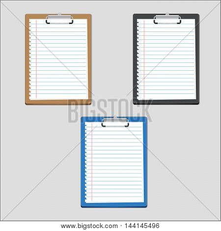 Clipboard blank on notepaper. can used for iconinforaphic and design.