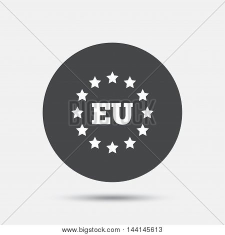 European union icon. EU stars symbol. Circle flat button with shadow. Vector