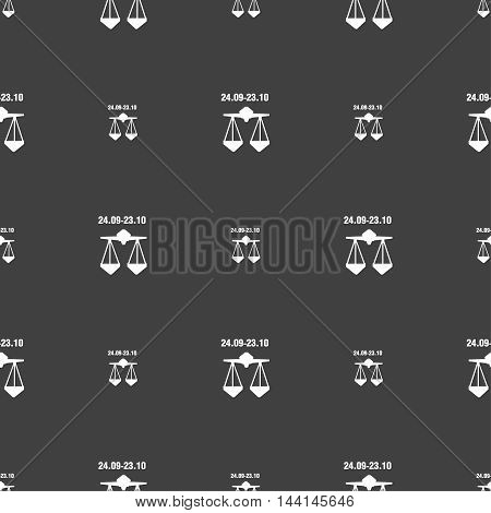 Decorative Zodiac Libra Sign. Seamless Pattern On A Gray Background. Vector