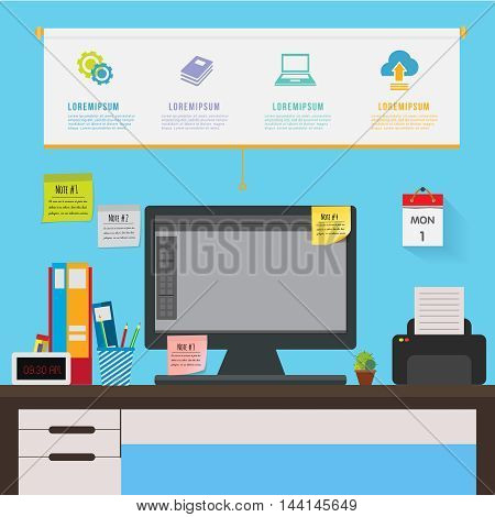 Desk in office infographic. Workplace table of workersticky note.Can used for banner,advertising,presentation.illustration business concept cartoon.