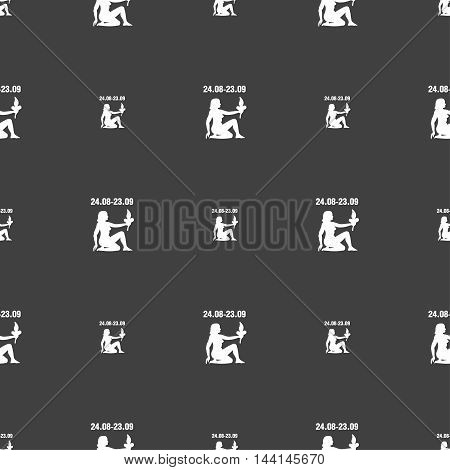 Virgo Sign. Seamless Pattern On A Gray Background. Vector