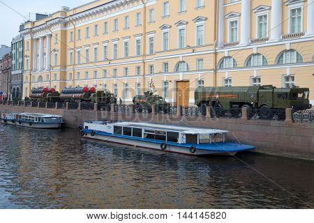 ST. PETERSBURG, RUSSIA - MAY 05, 2015: Military equipment on embankment of the Moika river before the rehearsal of parade in honor of Victory Day