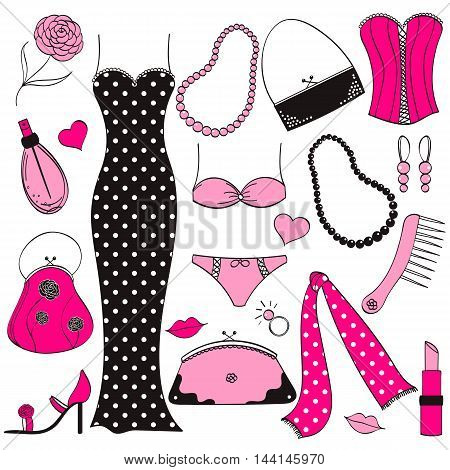 Vector ladies pink and black fashion set