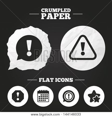 Crumpled paper speech bubble. Attention icons. Exclamation speech bubble symbols. Caution signs. Paper button. Vector