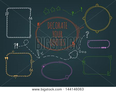 Bright Contrast Vector Set Of Handdrawn Frames For Quotes Isolated On Dark Background