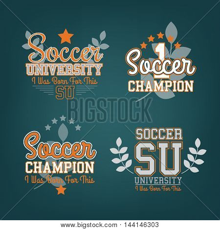 Set Of Vector Soccer Badges On Dark For Web, Print Or Apparel Use