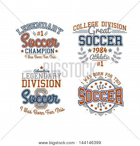 Set Of Vector Soccer Badges Isolated On White For Web, Print Or Apparel Use