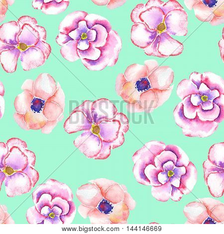 A seamless floral pattern with the watercolor tender pink spring flowers painted on a mint background