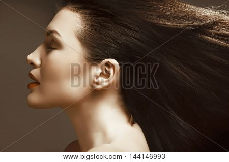 beautiful girl with long brown hair perfect profile