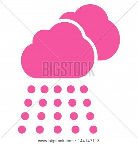 Rain Clouds icon. Vector style is flat iconic symbol, pink color, white background.
