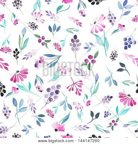 Seamless pattern of purple flowers and berries, blue leaves painted in watercolor on a white background