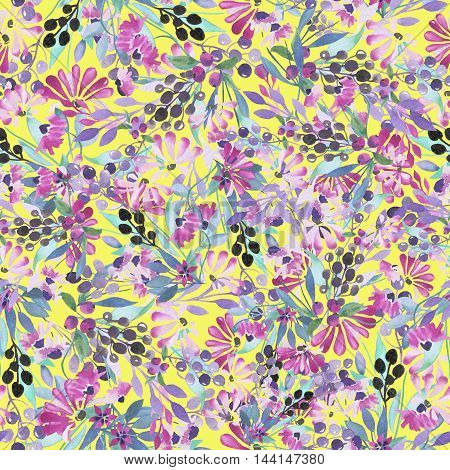 Seamless pattern of purple flowers and berries, blue leaves painted in watercolor on a yellow background