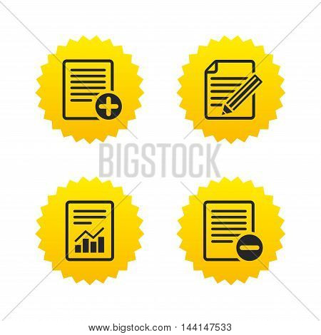 File document icons. Document with chart or graph symbol. Edit content with pencil sign. Add file. Yellow stars labels with flat icons. Vector
