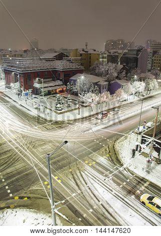 Sofia winter snowy boulevards sityscape.
