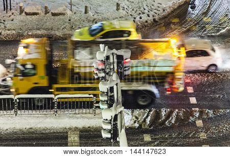 Bussy winter snowy crossroad