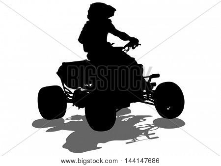Silhouettes athletes ATV during races on white background