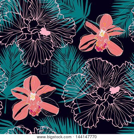 vector seamless pattern with pink orchids and palm leaves, dark tropical pattern