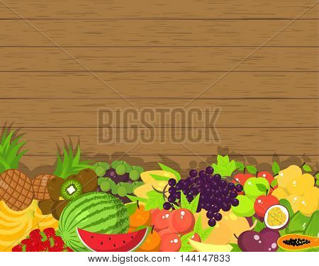 Fruit vector background with a space for text. Fresh organic food products shop. Flat illustration
