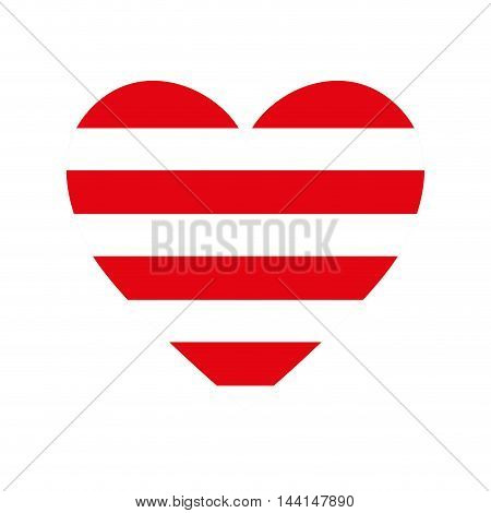 heart love romance passion amour red stripes vector illustration