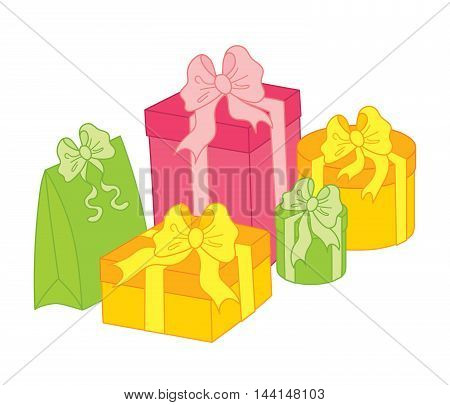Vector gift boxes with presents decorated with bows