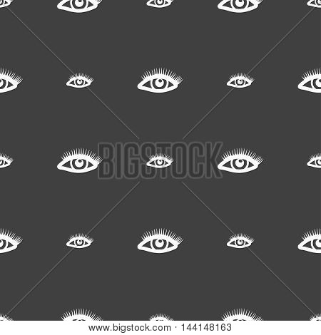 Eyelashes Sign. Seamless Pattern On A Gray Background. Vector
