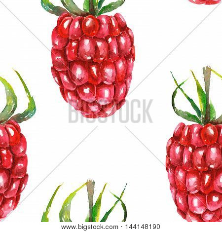 A seamless pattern with the watercolor raspberries, hand-drawn on a white background