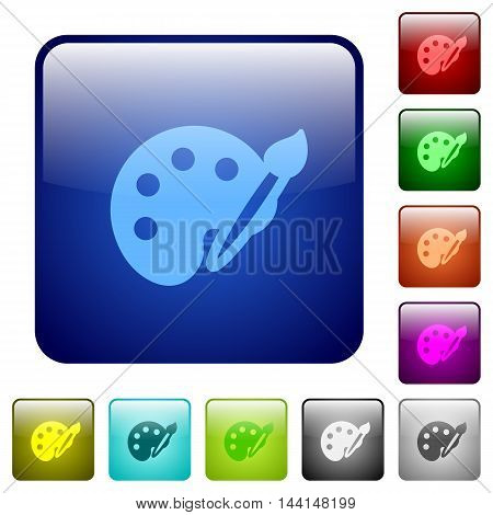 Set of paint color glass rounded square buttons