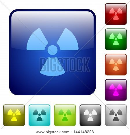 Set of radiation color glass rounded square buttons