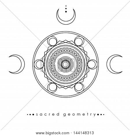 abstract geometric composition, vector mystic geometry and alchemy sign