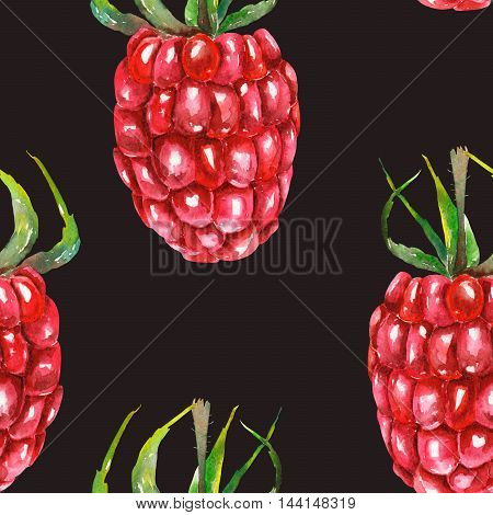 A seamless pattern with the watercolor raspberries, hand-drawn on a dark background